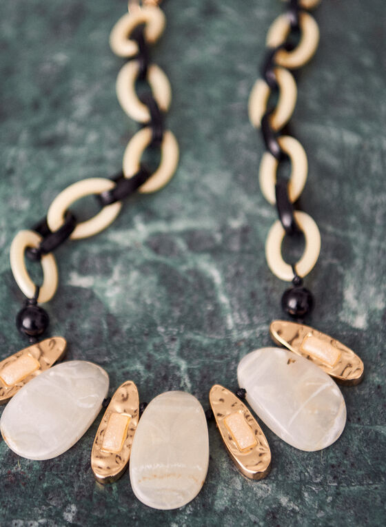 Chunky Two Tone Resin Necklace, Off White