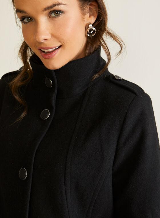Wool Blend Stand Collar Coat, Black