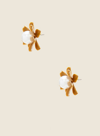 Pearl Center Floral Earrings, Yellow,  Spring summer, 2021, earrings, accessories, flower, pearl, floral, jewelry, jewellery