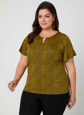 Speckled Dot Print Top, Yellow, hi-res