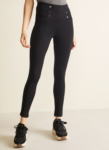 Button & Rib Detail Leggings, Black,  leggings, pull-on, slim leg, ponte di roma, button details, fall winter 2020