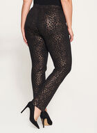 Pantalon pull-on léopard à jambe étroite, Noir, hi-res