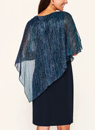 Robe poncho plissée à fibre métallisée , Bleu, hi-res