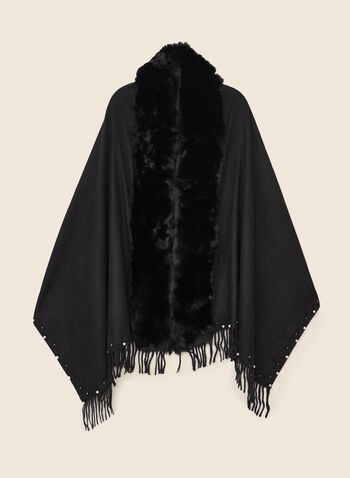 Pearl & Fringe Detail Shawl, Black,  shawl, faux fur, pearl, fringe, fall winter 2020