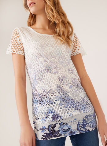 Vex - Crochet Knit Top, Blue, hi-res