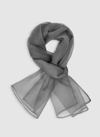 Organza Wrap, Silver,  Canada, organza, scarf, wrap, lightweight, fall 2019, winter 2019