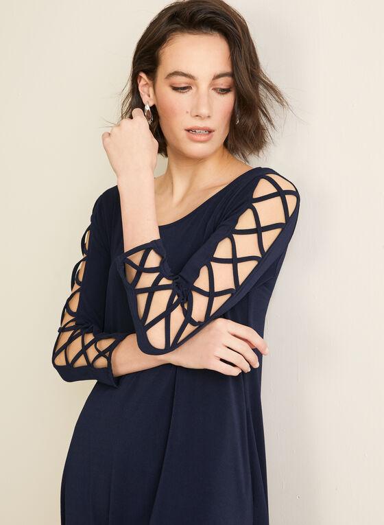 Nina Leonard - Robe à détails croisés, Bleu