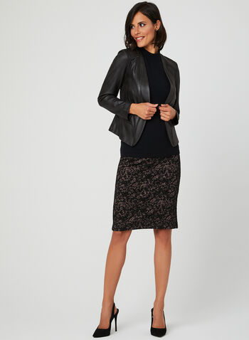 Lace Print Pencil Skirt, Black, hi-res