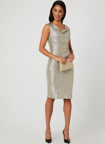 Metallic Drape Neck Dress, Gold, hi-res