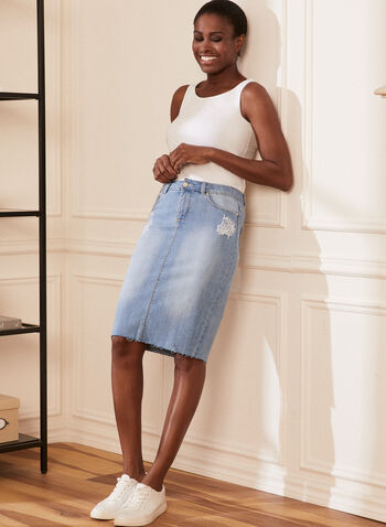 Embroidered Detail Denim Skirt, Blue,  skirt, straight, denim, pockets, raw edge, spring summer 2020