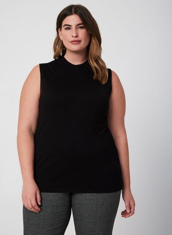 Sleeveless Mock Neck Sweater, Black