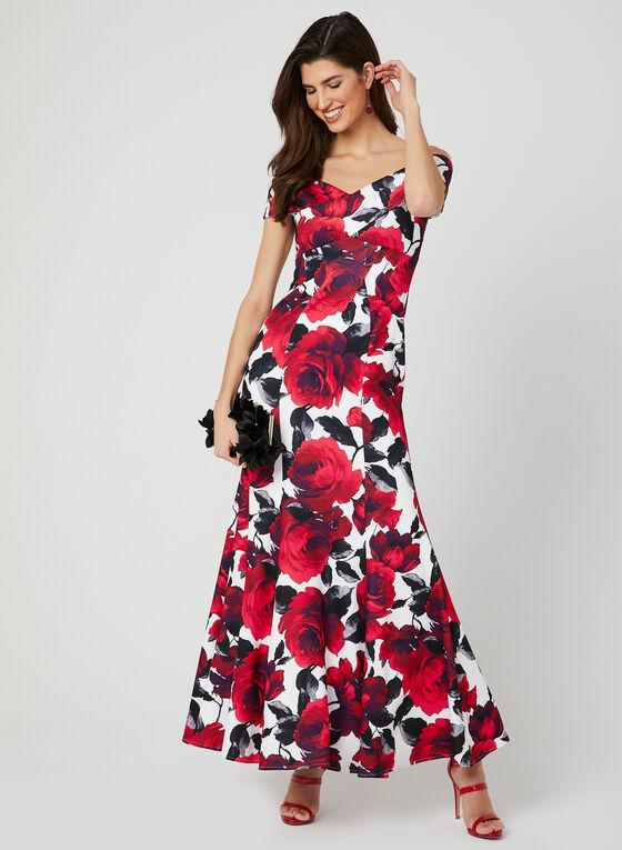 Robe sirène à motif de roses, Rouge