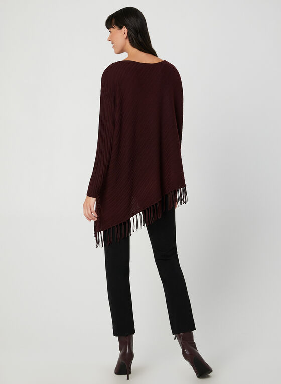 Fringed Asymmetric Sweater, Purple