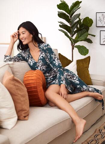 Floral Robe & Nightgown Set, Green,  fall winter 2021, made in Canada, sleepwear, loungewear, lounge, robe, nightgown, sleep, floral, print, flower, comfort
