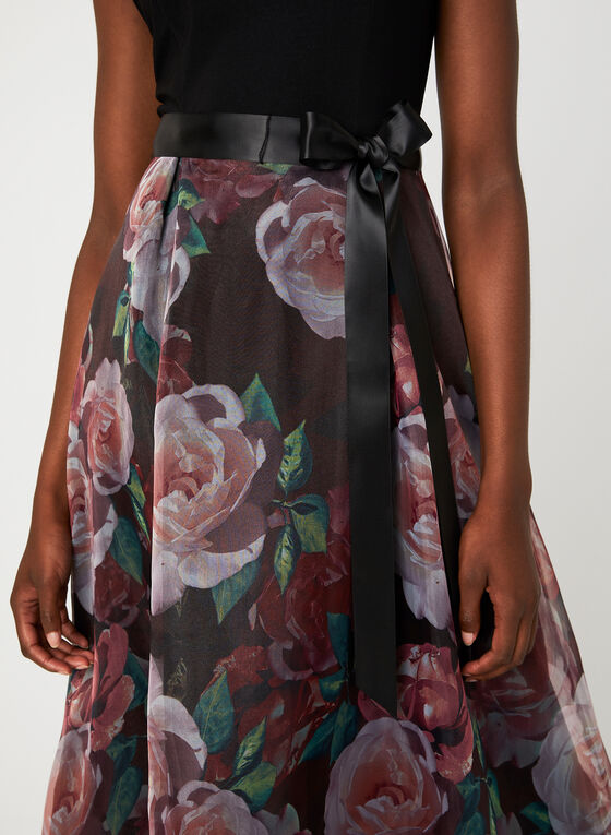 Floral Print Ball Gown, Black, hi-res