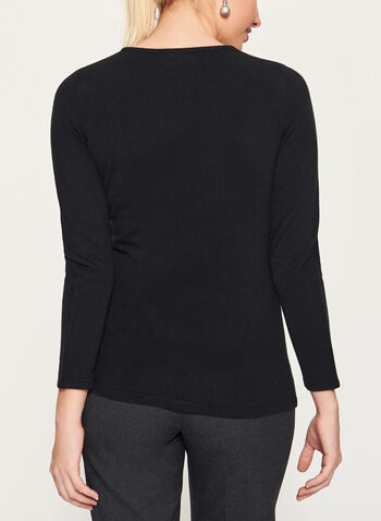 Crystal Embellished Long Sleeve Sweater, , hi-res