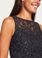 Marina - Sleeveless Sequin Lace Dress, Grey, hi-res