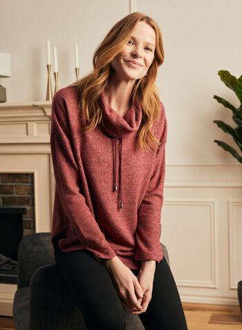 Haut en tricot à manches longues , Rouge,  haut, doux, tricot, col, bénitier, cordon, manches longues, tricot, printemps été 2021