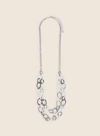 Long Double Row Link Necklace, Silver,  necklace, long, double, chain, link, metallic, spring summer 2020