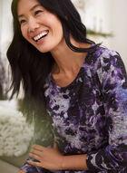 Floral Print Long Sleeve Top, Purple
