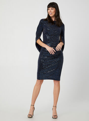 Sequin Drape Dress, Blue,  cocktail dress, sequin dress, dress, holiday, metallic, metallic dress, drape dress, fall 2019, winter 2019