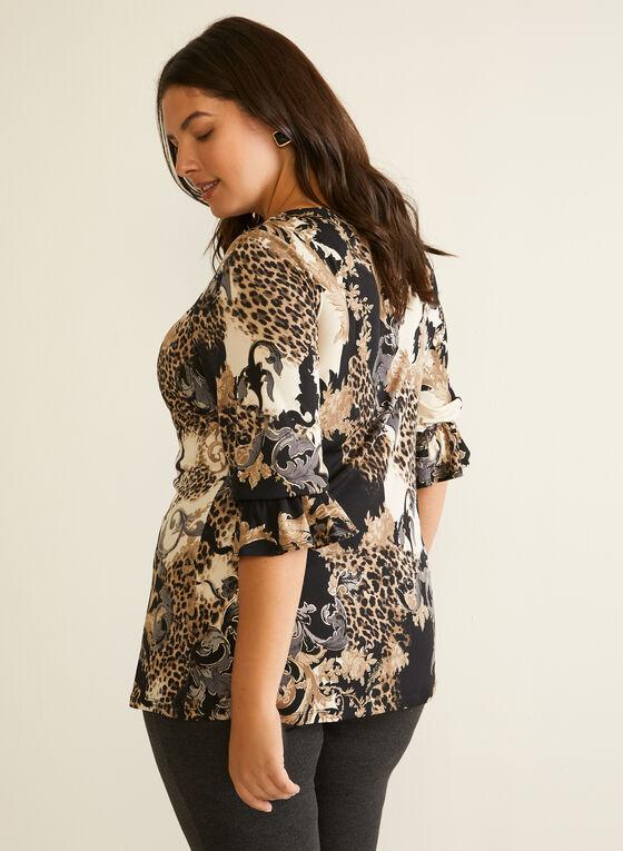 Baroque Print Ruffled Sleeve Top, Black