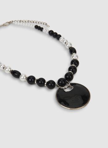 Collier deux tons à perles, Noir, hi-res,  automne hiver 2019, collier, perles, deux tons, accessoire, bijou, pendentif
