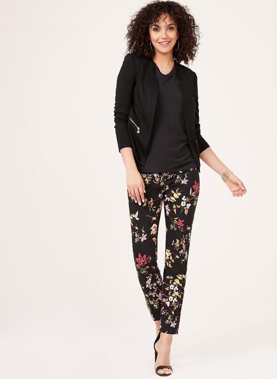Pantalon floral pull-on à jambe étroite, Noir, hi-res