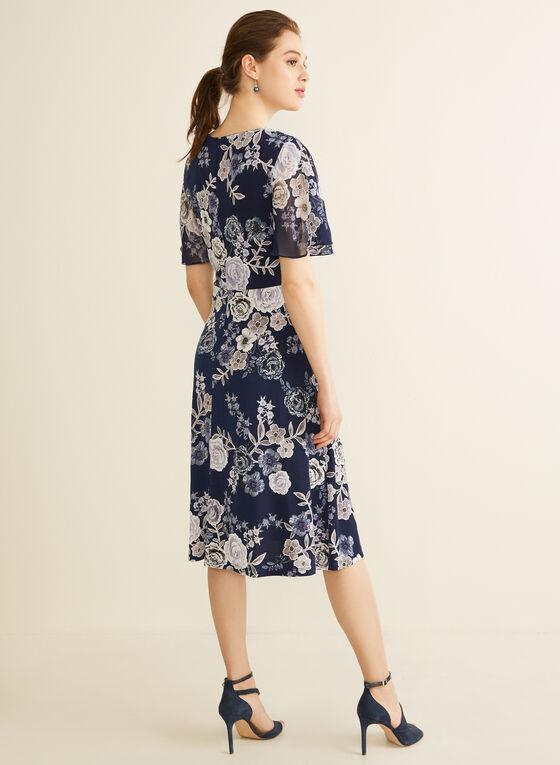 Robe cache-cœur à motif floral, Bleu