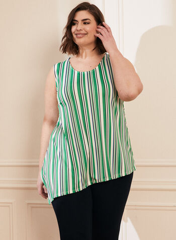 Stripe Print Asymmetrical Top, Green,  top, blouse, scoop neck, asymmetrical, stripe print, sleeveless, spring summer 2021