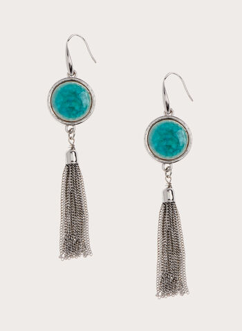 Stone & Tassel Dangle Earrings, Blue, hi-res