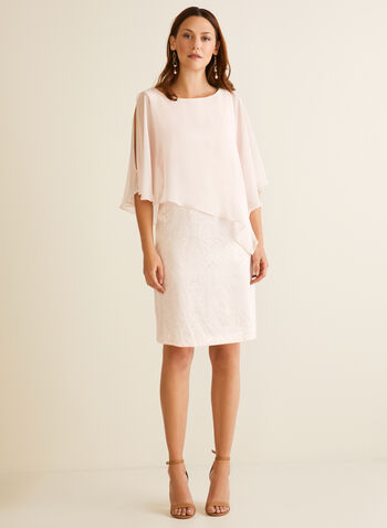 Robe poncho en brocart, Rose,  robe cocktail, poncho, brocart, printemps été 2020