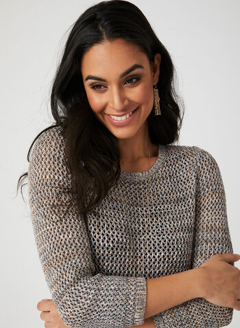 Alison Sheri - Crochet Knit Top, Multi, hi-res,  Crochet, spring 2019, ¾ sleeves
