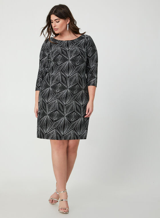 Geometric Print Sequin Dress, Black, hi-res