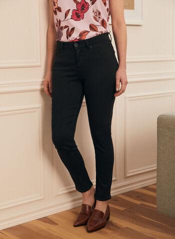 Jeans à jambe droite et taille haute , Noir,  jeans, jambe droite, automne hiver 2020, 5 poches, ganses