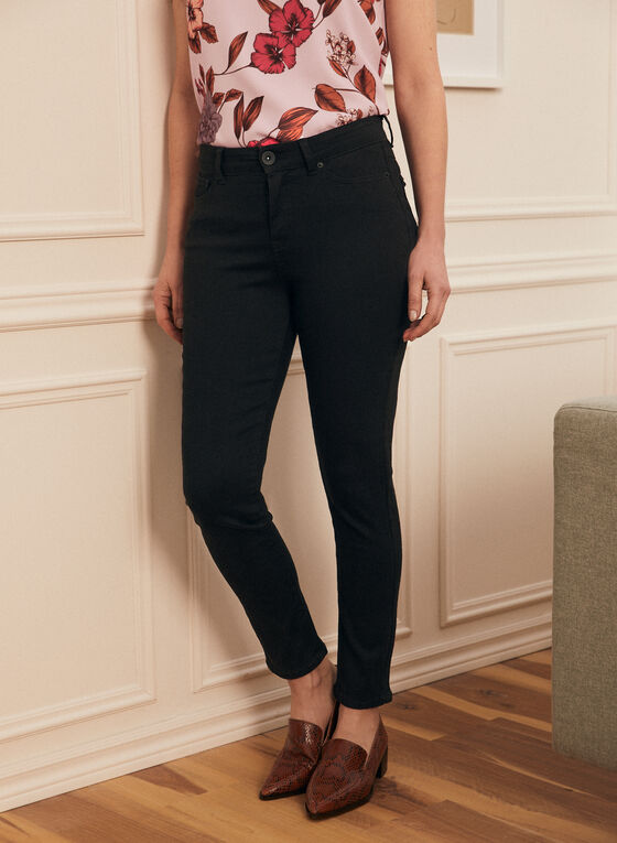 Straight Leg High Rise Jeans, Black