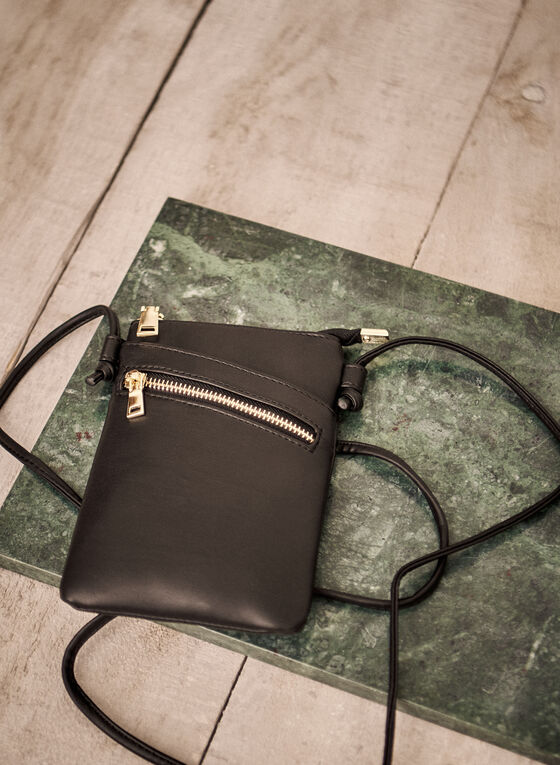 Zip Detail Crossbody Bag, Black