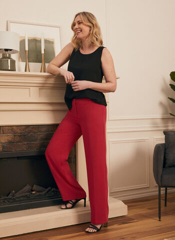 Pantalon coupe moderne à jambe large, Rose,  printemps été 2020, pantalon, coupe moderne, jambe large, fluide