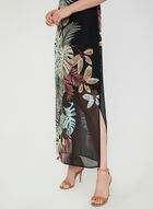 Leaf Print Maxi Dress, Black
