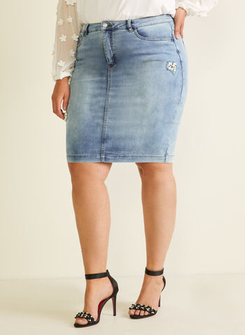 Joseph Ribkoff - Pearl Detail Denim Skirt, Blue,  skirt, denim, pearls, pockets, spring summer 2020