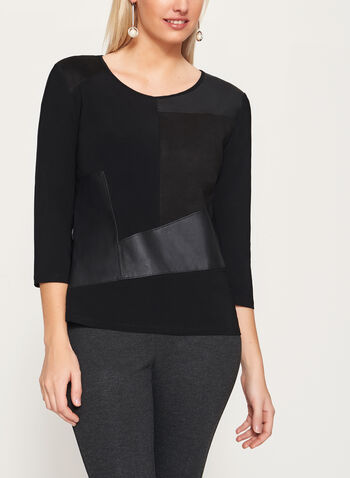 3/4 Sleeve Jersey & Faux Leather Top, , hi-res