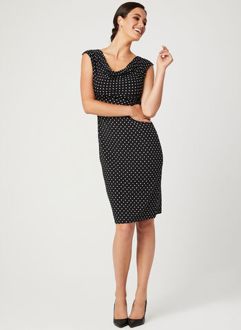Dot Print Jersey Dress, Black, hi-res