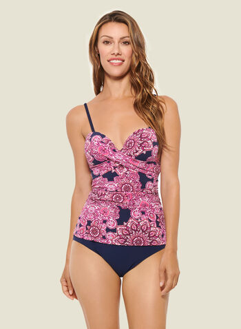 Christina - Mandala Print Tankini With Bottom, Pink,  swimsuit, swimwear, bathing suit, tankini, removable straps, underwire, print, top, bottom, spring summer 2020