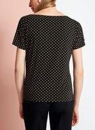 Dot Print Split Sleeve Top, Black, hi-res