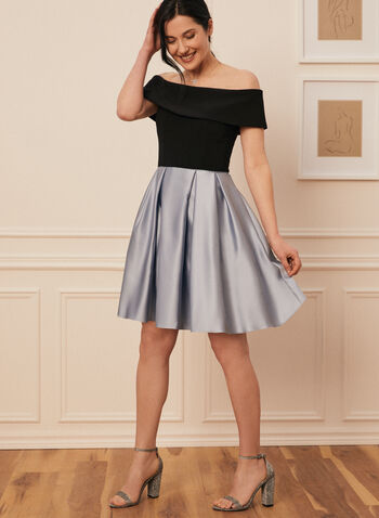 Off-The-Shoulder Dress, Black,  spring summer 2021, satin skirt, jersey bodice, off-the-shoulder neckline