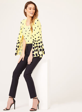Sleeveless Dot Print Knit Top, Yellow, hi-res