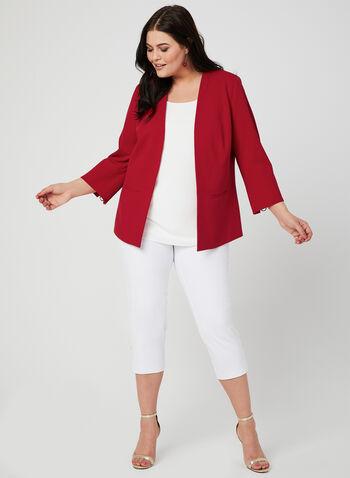 Open Front Crepe Jacket, Red,  blazer, jacket, Open front
