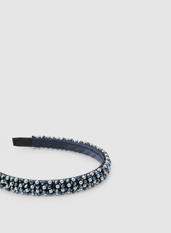 Thin Pearl Embellished Headband, Blue,  headband, beads, pearls, satin, satin headband, fall 2019, winter 2019