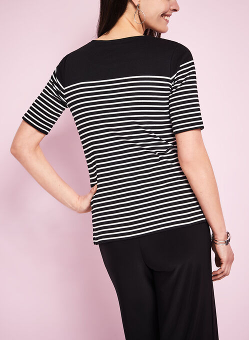 Stripe Print T-Shirt, Black, hi-res