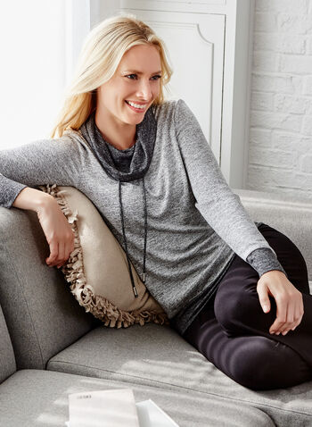 Cowl Neck Heather Knit Top, Grey, hi-res